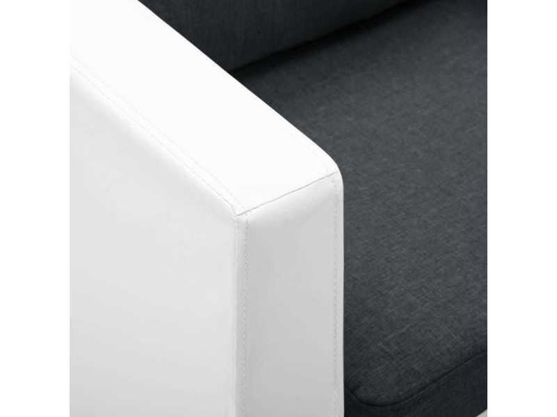 Vidaxl canapé à 3 places faux cuir blanc et gris foncé 247175