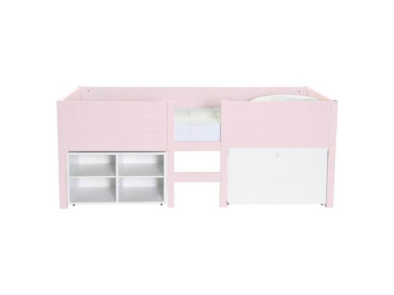 lit mi hauteur enfant avec rangement rose quartz lit sureleve school caisson rose q conforama. Black Bedroom Furniture Sets. Home Design Ideas