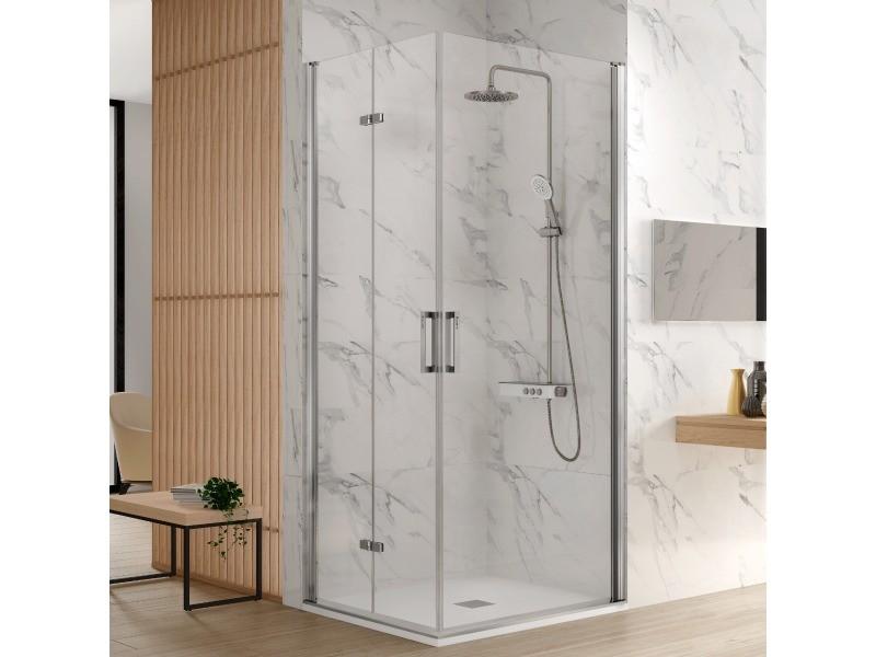 Paroi de douche accès en angle 1 porte pliante 70 cm + 1 porte pivotante 60 cm ancre de porte pliante à gauche nardi