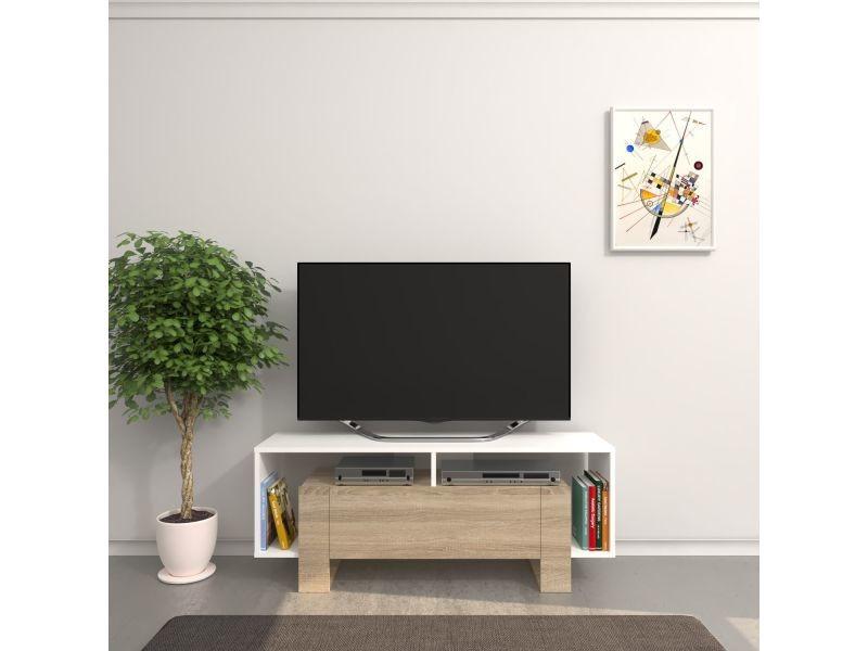 Meuble tv design melville - l. 120 x h. 47 cm - blanc sonoma