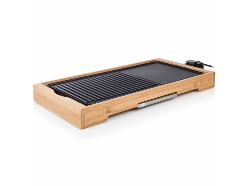 Esthetique électroménager de cuisine ensemble yaren tristar gril en bambou bp-2641 2200 w 51 x 25,4 cm