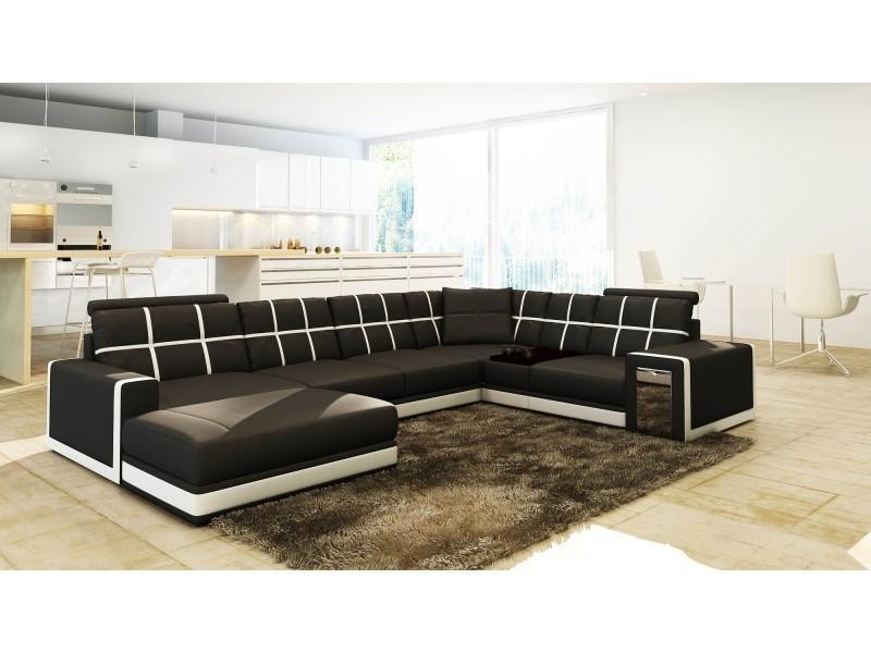 Canapé d'angle panoramique cuir noir et blanc design electra-
