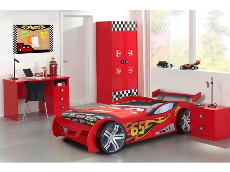 Ensemble 4 pièces pour chambre enfant avec lit voiture 90x200 cm ...