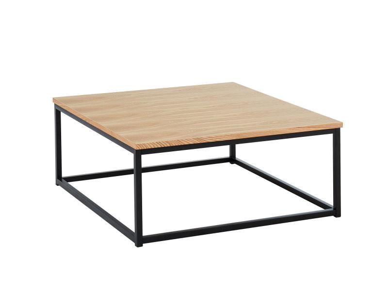 Brixton table basse industrielle carrée - placage bois et métal - l80cm BRIXTON02