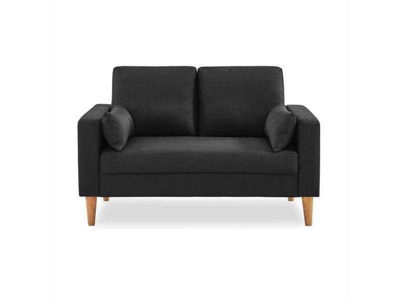 Canapé en tissu gris chiné foncé - bjorn - canapé 2 places fixe droit pieds bois. Style scandinave