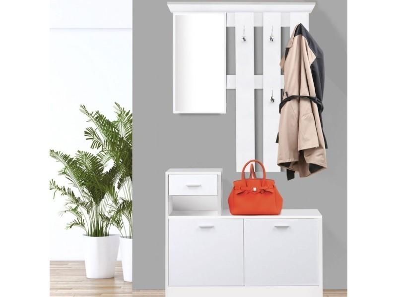 Good Vestiaire Du0027entrée Avec Miroir Design Blanc Portes Blanches