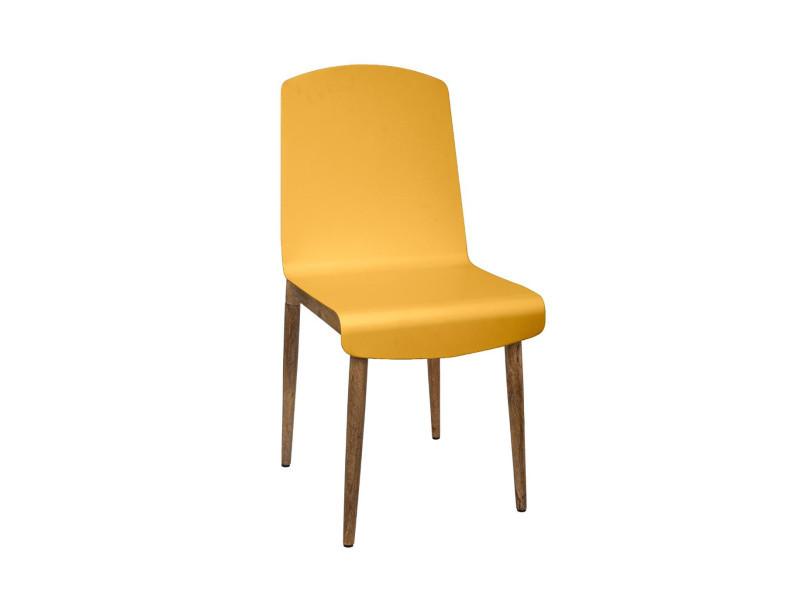 Atmosphera - chaise de salle à manger en bois de manguier et acier moutarde h 87.5 cm