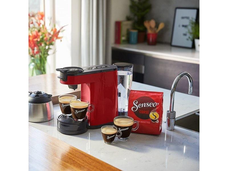 Machine à café senseo 2 en 1 de 1l 1450w rouge noir
