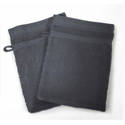 Lot de 2 gants de toilette 15 x 21 cm anthracite