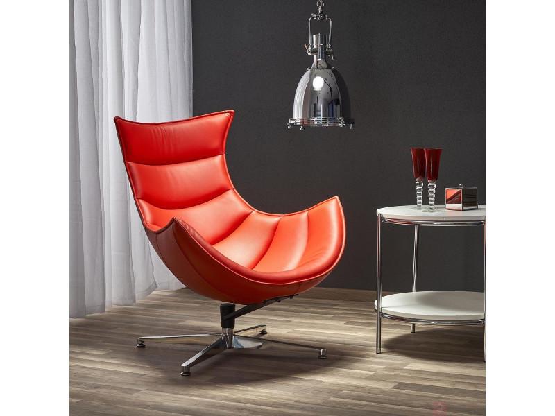 Fauteuil design en cuir reconstitué– rouge