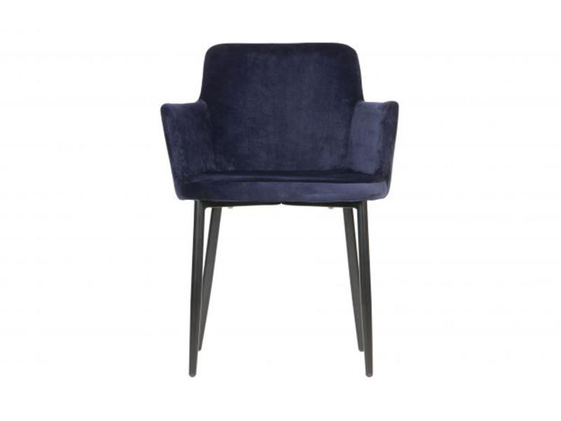 Chaise coloris bleu encre en velours polyester - dim: 81 x 61 x 59 cm -pegane-
