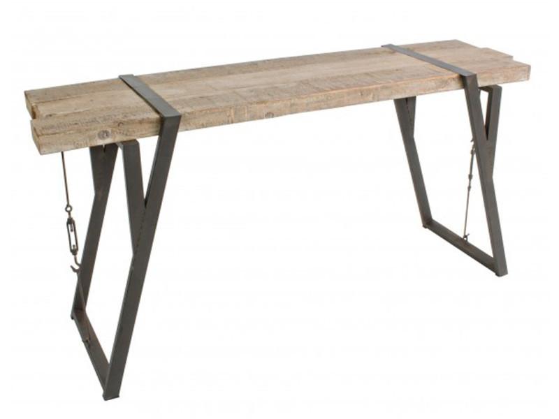 Console en bois de pin et fer - dim : l 53 x p 44 x h 76 cm -pegane