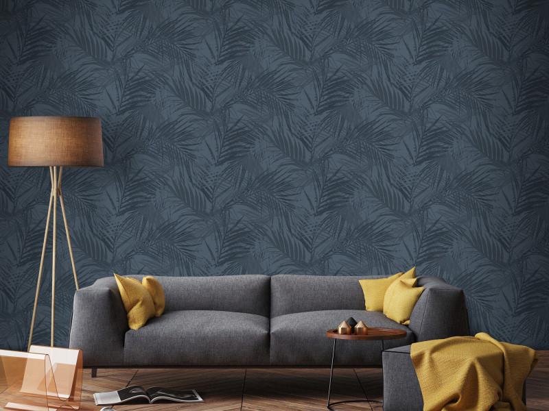 Papier peint intissé feuilles d'été 1005 x 52cm bleu 105736