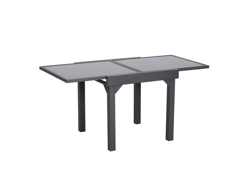 Table extensible de jardin grande taille dim. Dépliées 160l x 80l x 75h cm alu métal époxy gris foncé plateau verre trempé noir
