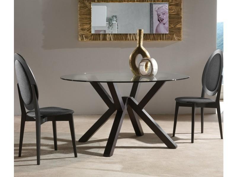 Table repas design teorema wengé plateau en verre 20100850634