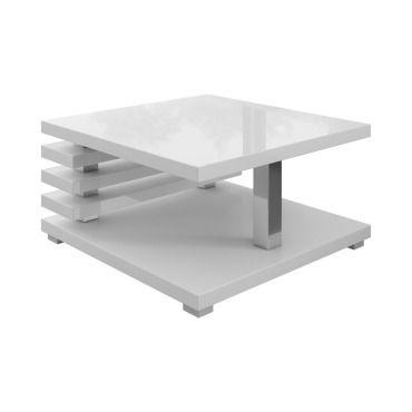 E Com Table Basse Salon Oslo 60 X 60 Cm Blanc Dessus Blanc Brillant St30360whg Vente De Table Basse Conforama
