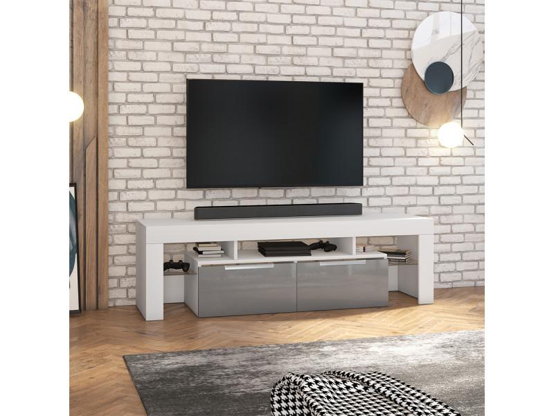 Meuble tv - vergon - blanc mat / gris brillant