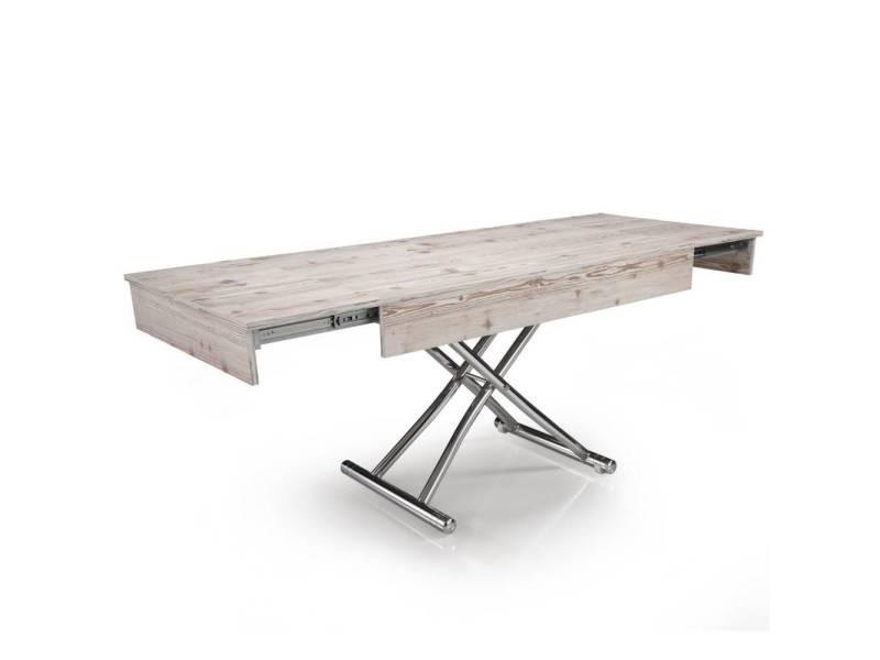 Table basse relevable cube coloris bois vintage extensible - Table basse relevable extensible conforama ...