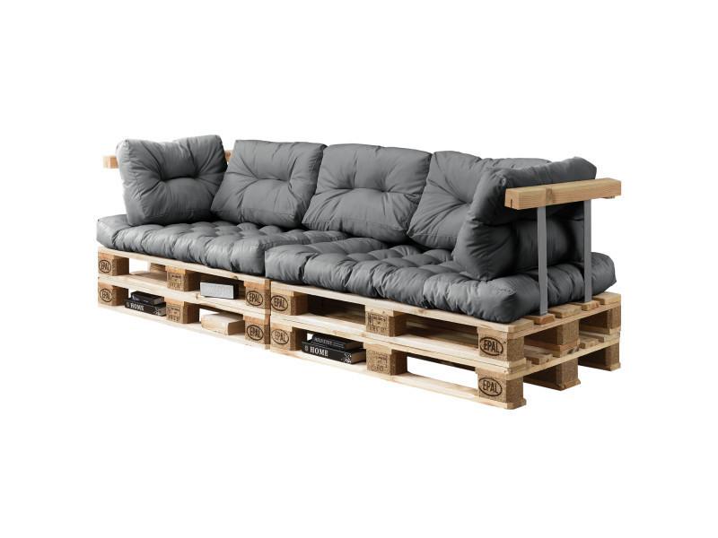 [en.casa] canapé de palette euro- 3-siège avec coussins- [gris brilliant] kit complète incl. Dossier et appuie-bras