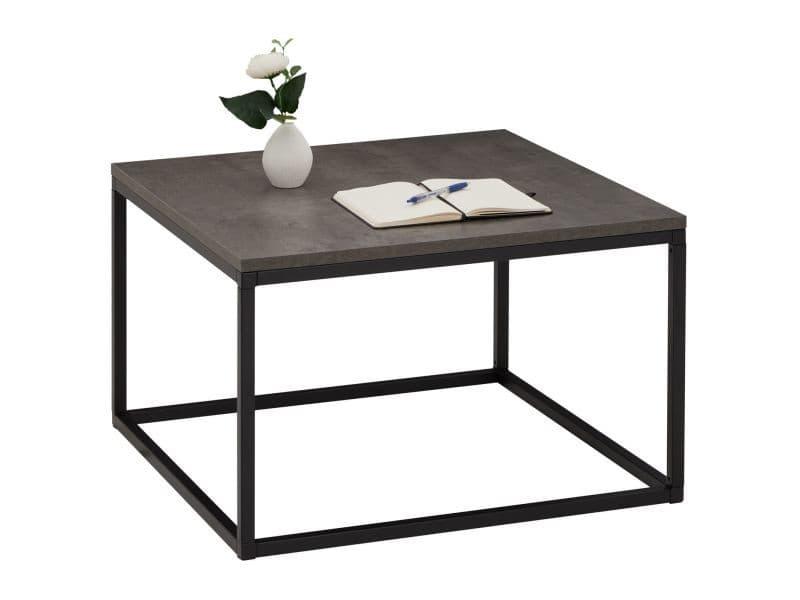 Table basse hades, table de salon table d'appoint carrée design vintage, plateau en mélaminé béton foncé et cadre en métal noir
