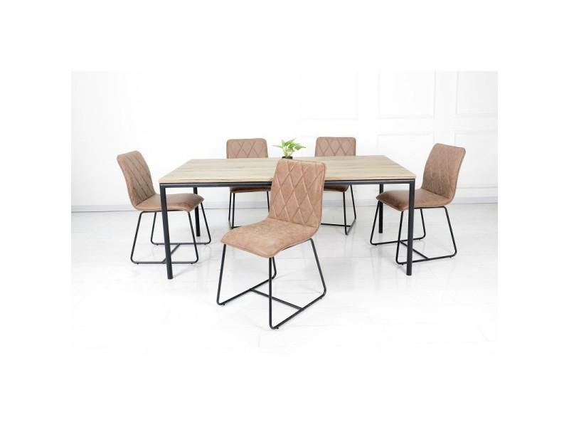 Ensemble table et chaises. Table 180 cm mozes + 6 chaises lea coloris brun.