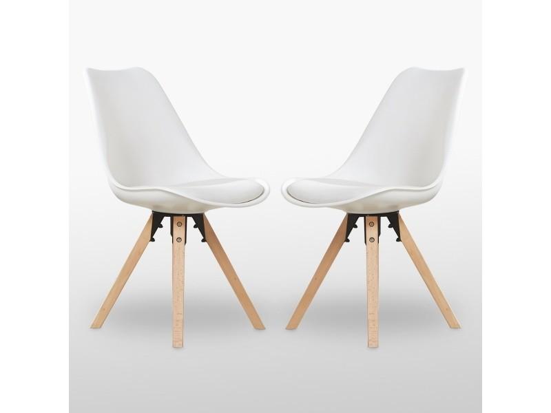 Lot de 2 chaises scandinaves blanches - sofia