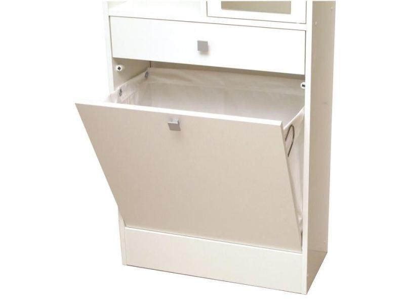 Colonne de salle de bain - armoire de salle de bain galet armoire de toilette l 60 cm - blanc mat
