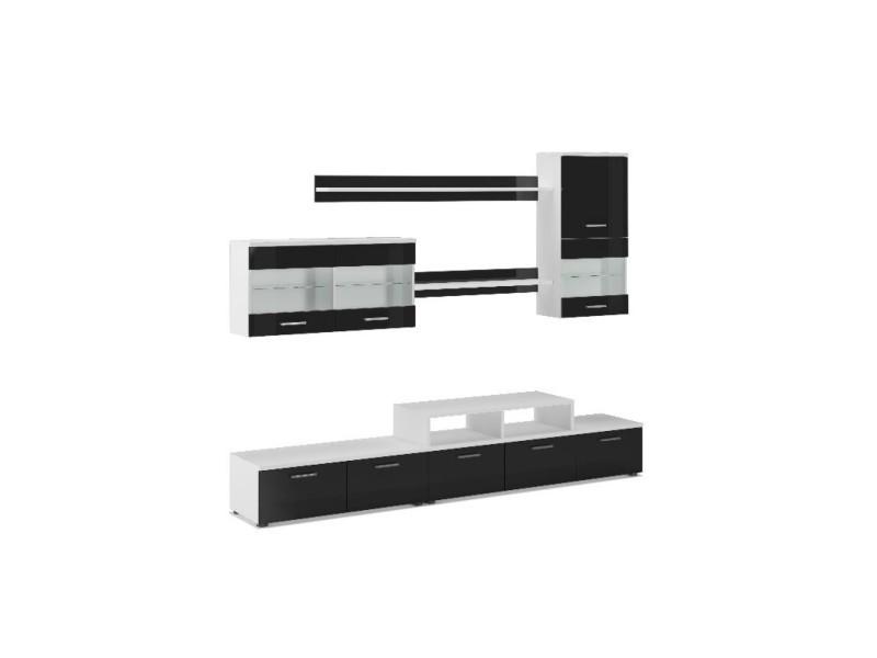 Ensemble de meubles de salon,tv, ilumin.led, blanc mate/noir ...