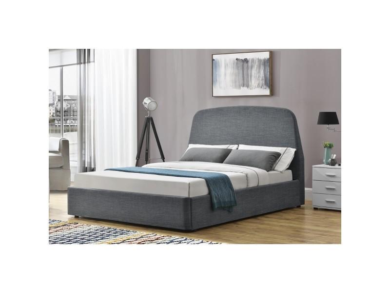 lit nacka cadre de lit rangement 2 places gris. Black Bedroom Furniture Sets. Home Design Ideas