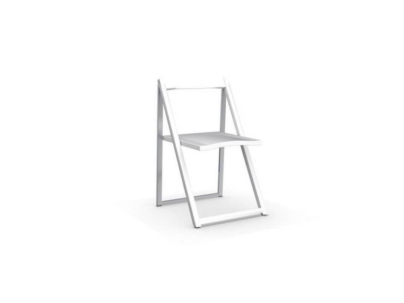 Chaise pliante skip blanche et aluminium satiné 20100839833