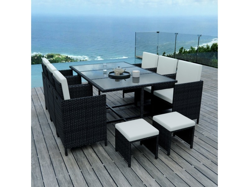 10 places - ensemble encastrable salon / table de jardin résine ...