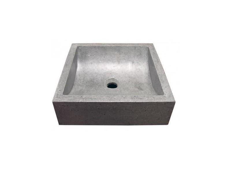 Aqua+ - vasque carré en terrazzo 42x42cm gris ciment - kiara