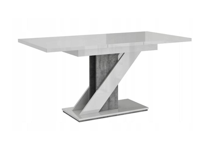 Table a manger extensible evan - blanc laque et beton 120-160 cm