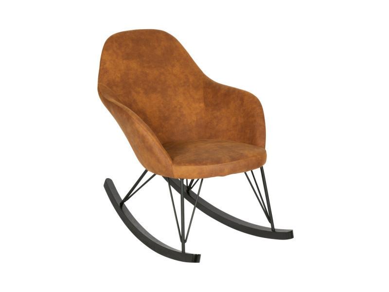 rocking chair vintage rock couleur cognac 800582 b conforama. Black Bedroom Furniture Sets. Home Design Ideas
