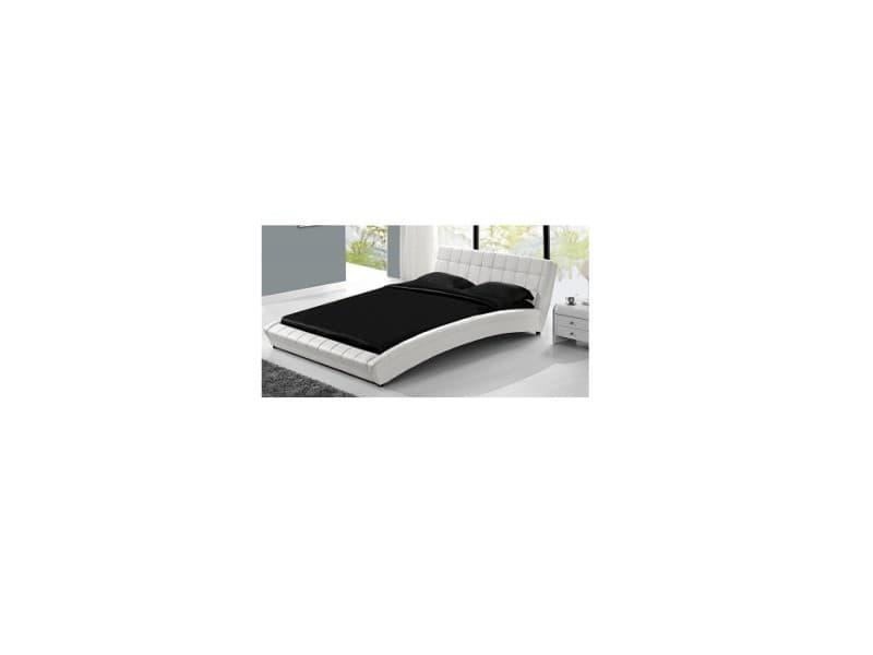 Le morphée blanc : structure de lit en simili capitonné et sommier 140 x 190 cm 185138