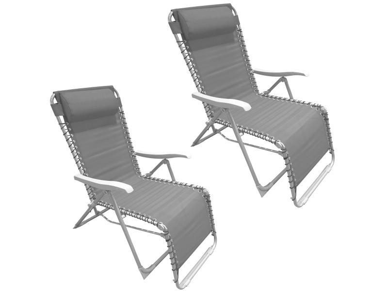 Set duo ensemble deux chaises longues fauteuil de jardin texilène gris