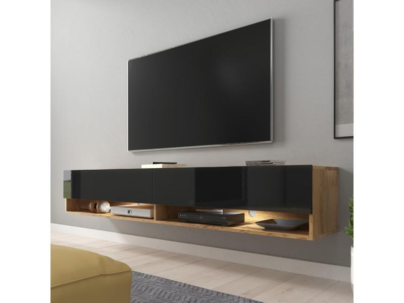Meuble tv - wander - 180 cm - chêne wotan / noir brillant - led