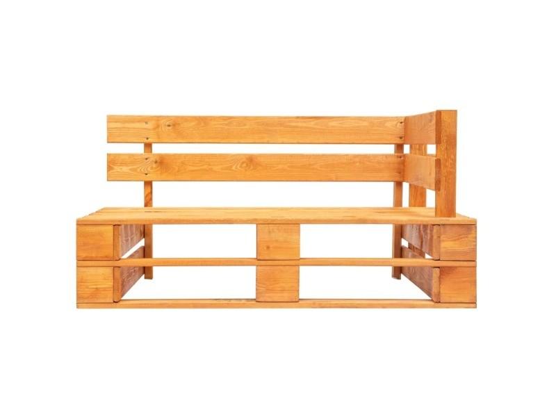 Vidaxl banc palette d'angle de jardin bois marron miel 45766