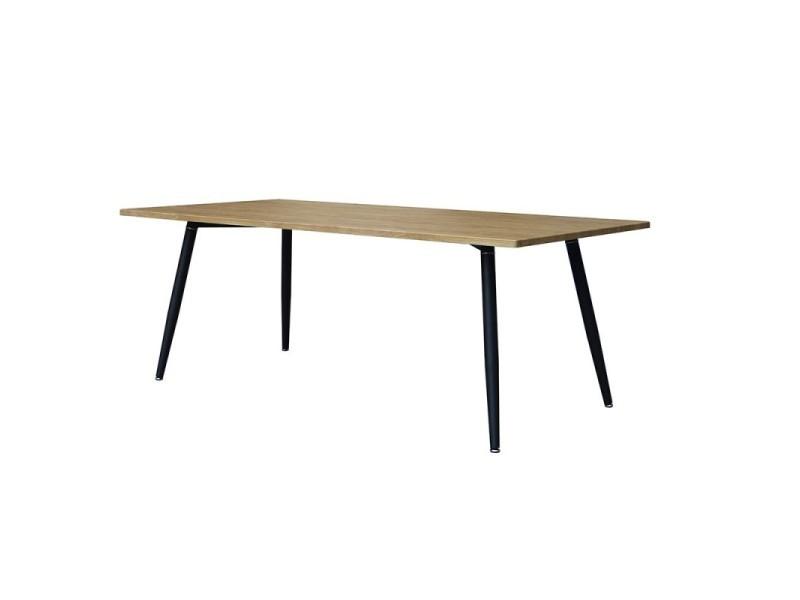 Table 200 x 100 collection silva pieds métal et plateau effet bois. Table design.