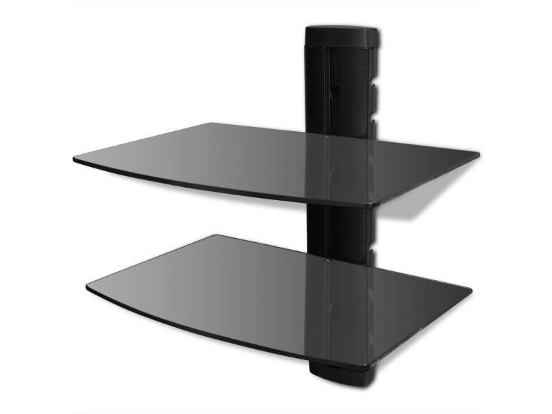 Meuble télé buffet tv télévision design pratique étagère murale noire à 2 tablettes en verre pour dvd helloshop26 2502016