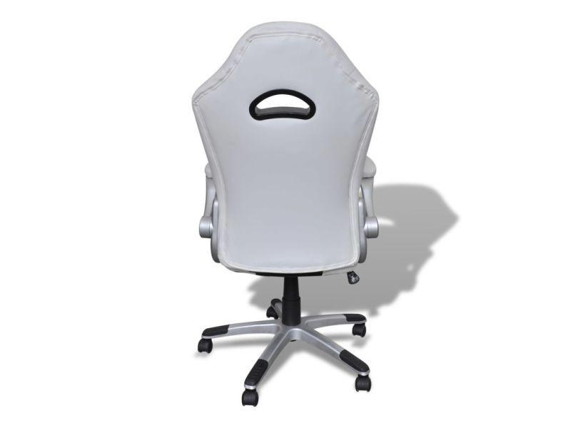 Vidaxl fauteuil en similicuir moderne de bureau design blanc 20072