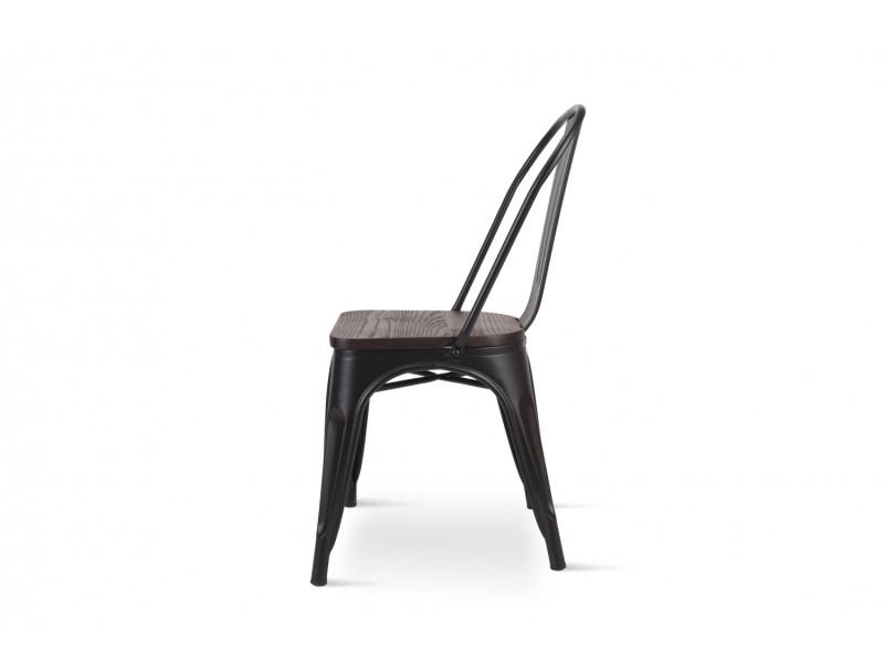 Kosmi Lot de 4 Chaises Noires en m/étal Noir Mat Style Industriel Factory