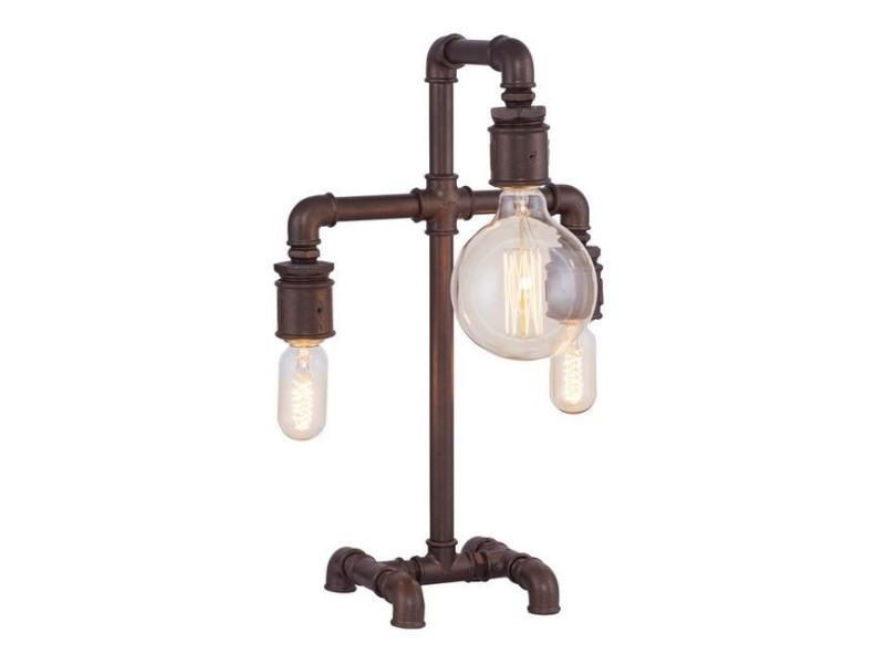 Homemania lampe de bureau metal - pour bureau, table de chevet - marron en métal, 32 x 17 x 50 cm, e27 3x40 w