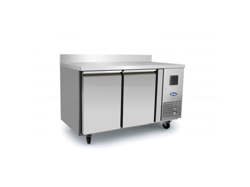 Table réfrigérée positive avec dosseret - 2 portes gn1/1 - atosa - r600a 2 portes pleine