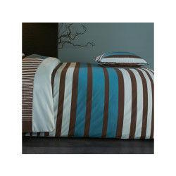 Housse de couette 200x200 cm percale pur coton stripe bleu