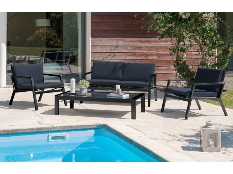 Salon de jardin bas en aluminium et textilène noir - Vente de ...