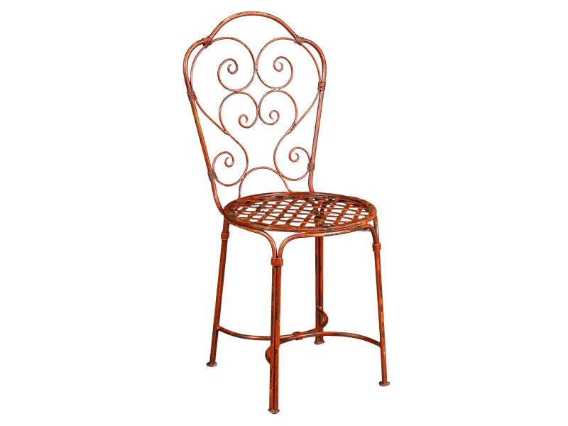 Chaise de salle à manger de jardin d'extérieur en fer forgé avec finition rouge antique