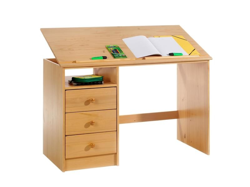 bureau enfant 3 tiroirs lasur couleur h tre vente de bureau conforama. Black Bedroom Furniture Sets. Home Design Ideas