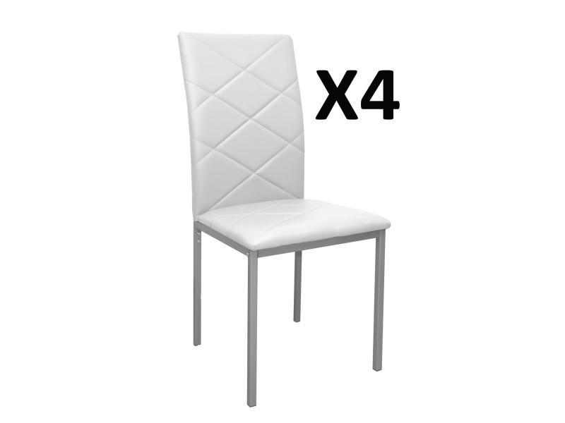 lot de 4 chaises blanche revêtement pu, 510 x 430 x 950 mm -pegane