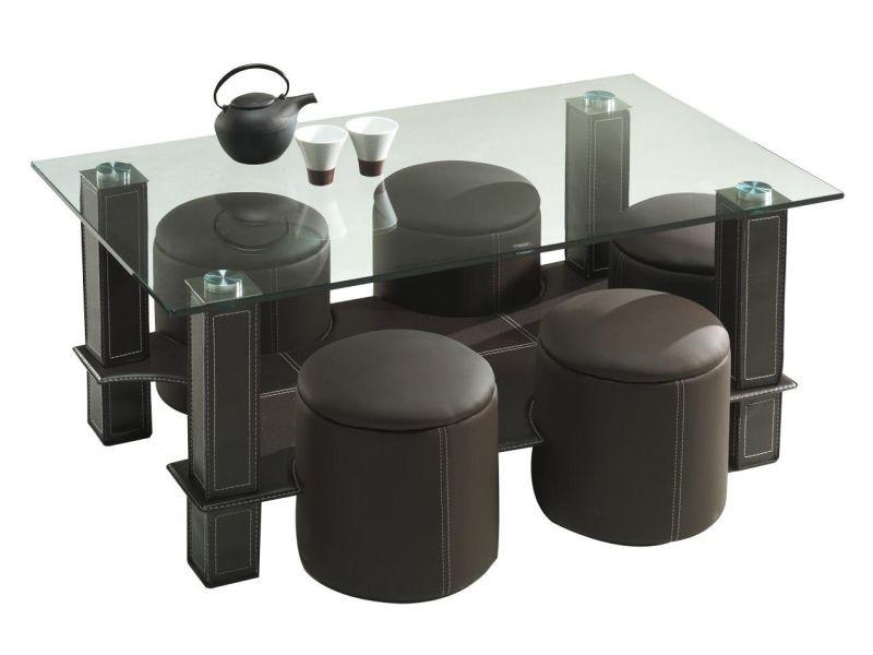 table basse avec 6 poufs en pvc coloris brun p 18477 co c. Black Bedroom Furniture Sets. Home Design Ideas